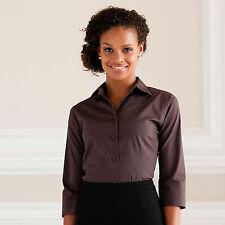 Womens Ladies Russell Collection 3/4 Sleeve Easycare Fitted Shirt Blouse J946F