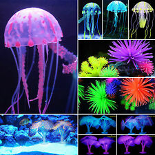 Silicone Artificial Fish Tank Aquarium Light Coral & Jellyfish Ornament Decor