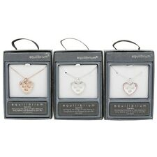 Equilibrium Heart Necklace Pendant Silver Plated Diamante Rose Gold Pink Bridal