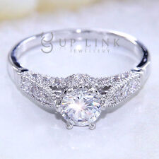 2.04CT White CZ 925 Sterling Silver Gold Plated Wedding Engagement Ring Sz 5-10