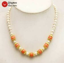 "SALE 6-7mm white natural round pearl with 9-10mm pink coral 17"" Necklace-nec5891"
