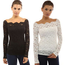 Hot Fashion Solid Lace Boat Neck Long Sleeve Shirt Blouse Off Shoulder Tops