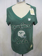 New York Jets Women XLRetro Sport V-Neck Short Sleeve T-Shirt Green A5TL