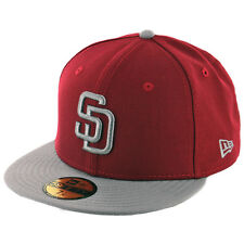 New Era 59Fifty San Diego Padres Fitted Hat (CD/SG-SG) Cardinal Grey MLB Cap