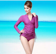 New Ladies Long Sleeve Rash Guard Swim Sun Shirt Surf Swimwear SPF Sun Top