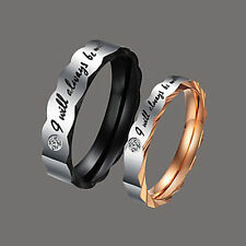 Trendy Couple Rings Titanium Steel Wedding Band Lover's Engagement Promise Ring