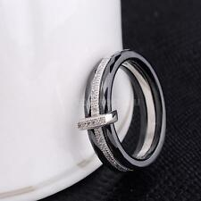 Men's Lady Polished Nano Ceramic Dome Ring 925 Sterling Silver Wedding Band QT4P