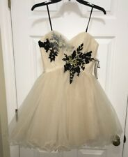 BEE DARLIN Beige Short Tulle Evening Cocktail Homecoming Prom Dress NEW Jrs 5  6
