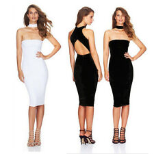 Women Sexy Clubwear Bodycon Cocktail Party Halter Backless Slim Fit Sheath Dress