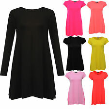 New Kids Childrens Plain Long Sleeve Stretch A Line Skater Girls Swing Dress Top