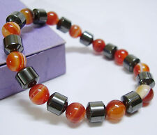 Banded Red Agate Magnetic Stretch Bracelet Carnelian Hematite Bio Health Therapy