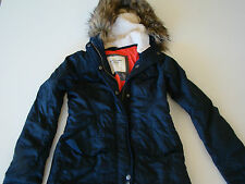 NEW ABERCROMBIE & FITCH NAVY BLUE COAT REMOVABLE FAUX FUR HOODIE WOMEN XS