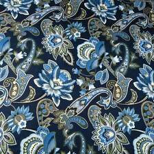 Mixed Jacobean Paisley Blue Olive Green Ivory Cotton Fabric by FabriQuilt