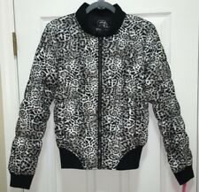 NWT Womens M BETSEY JOHNSON Performance Snow Leopard Black Puffer F/Z  Jacket
