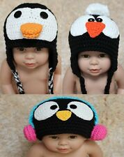 New Handmade Penguin Hat Baby Child Knit Crochet Hat Cap Newborn Photo Prop Gift