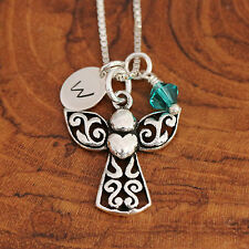 Sterling Silver Personalised Guardian Angel &Heart Pendant Necklace & Birthstone