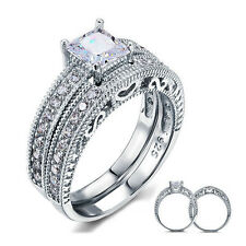 PRINCESS CUT 925 STERLING SILVER CZ WEDDING ENGAGEMENT RINGS SET SIZE 5-9 SS2067