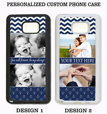 PERSONALIZED CUSTOM IMAGE PHOTO NAVY CHEVRON CASE For Samsung Galaxy S8 S7 NOTE