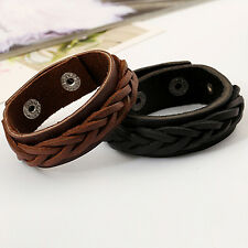 Men's Cool Style Bracelet  Knitted Leather Bangle Punk Wristband Cuff Stunning