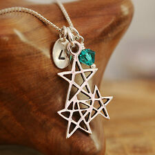 925 Sterling Silver Personalised Three Lucky Stars Pendant Necklace & Birthstone