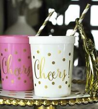 25 Gold CHEERS Plastic Wedding Birthday Party Cups 16 oz.