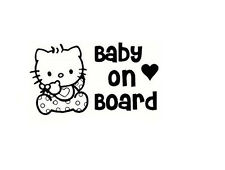 Kitty Kitten Baby on Board Vinyl Sticker Car and Room Wall Decal Design