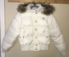 NEW Jrs XL SOUTHPOLE White Down Puffer Removable Fur Trim Hood Coat Jacket