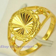8#,9# 12mm3g SUN SHINE STYLE REAL 18K YELLOW GOLD PLATED RING SOLID FILL GP GEP