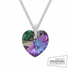 925 Sterling Silver Swarovski Crystal Heart Pendant Chain Necklace VITRAIL LIGHT