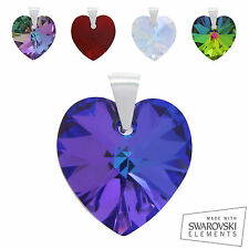 925 Sterling Silver Swarovski Crystal Xillion Heart Pendant CHOOSE COLOUR