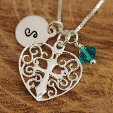 Sterling Silver Personalised Filigree Heart Cross Pendant Necklace w Birthstone