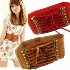 Women Strap Buckle Corset Wide Stretch Belt French Elastic Leather Waistband