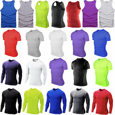 Mens Compression Base Layer Tight T-Shirt Vest Athletic Under Skin Top Gear Wear