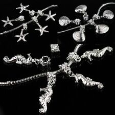 SILVER BIG HOLE EUROPEAN CHARM BEADS STARFISH SEASHELLS PENDANTS FIT BRACELET