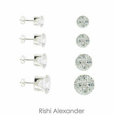 925 Sterling Silver 9 Cut Round Cubic Zirconia Clear CZ Stud Earrings