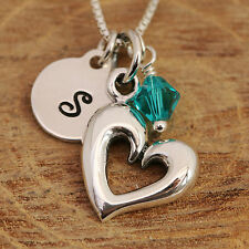 925 Sterling Silver Personalised Love Heart Pendant Necklace & Birthstone w Box