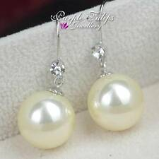 18K White Gold GP Elegant Pearl Dangle Earrings W/ Genuine Swarovski Crystals