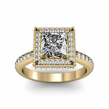 Square Halo Channel setting round accent stone Pave Princess Engagement Ring