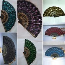 Folding Shining Sequins Hand Fan Fabric Embroidered Wedding Party Decor Fan Chic