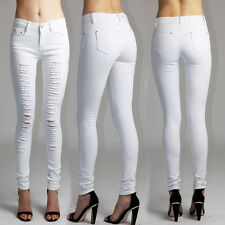 Womens Ladies White Ripped Distressed Skinny Stretchy Denim Jeans UK Size 8-16
