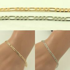 """NEW 8"""" long bracelet silver or gold plated 3mm wide anklet womens Mens girls"""
