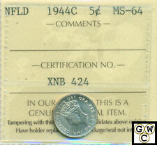 1944c N'Fld 5 Cent Coin ICCS Certified MS-64