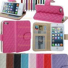 Leather Quilted Magnetic Wallet Flip Stand Case Cover Purse For New iPhone 5S, 5