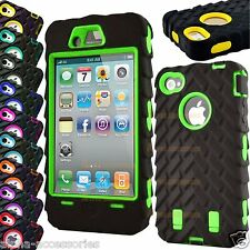 Tyre Grain Heavy Duty Hybrid Shock Proof Grip Case Cover For Apple iPhone 4S, 4