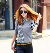 Korean Fashion Women Casual Button Down Long Sleeve Plaids Blouse Shirts Tops
