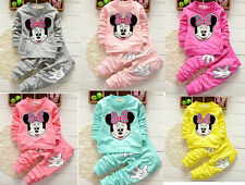 2Pcs Baby Girls Mickey Mouse Long Sleeve Coat +Pants Kids Casual Clothes Outfits