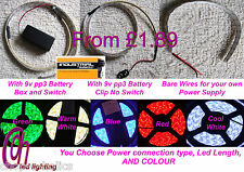 LED STRIP LIGHTS 5050 KITS WITH 9V PP3 BATTERY BOX & SWITCH OR WITHOUT, DIY CAR