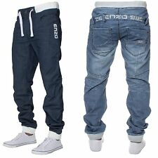 BNWT ENZO Mens Cuffed Fit Denim Casual Jeans Branded Designer Joggers All Waist