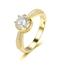 18K GOLD OVER STERLING SILVER CZ ROUND CUT WEDDING RING WOMEN'S SZ 4-10 SS12138