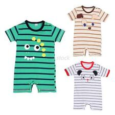 Kid Baby Boys Girls Striped Cartoon Short Sleeve Romper Jumpsuit Bodysuit Outfit